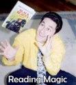 magician levitating book trick