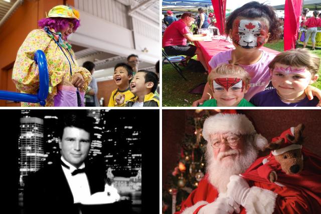 Clown, Santa, Magiciaqn